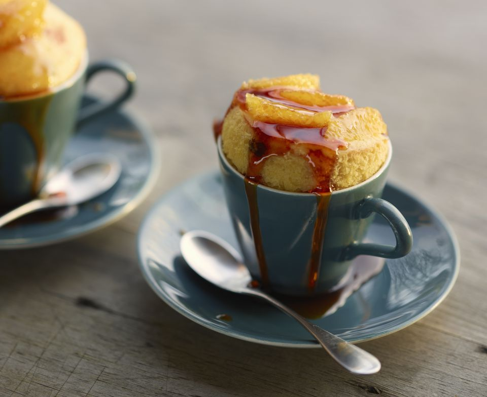 Close up of baked dessert in cup