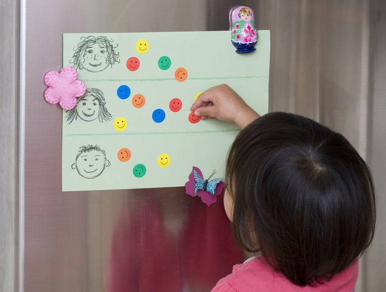 Girl putting smiley-face stickers on chart