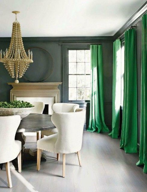 Gray Dining Room With Green Curtains