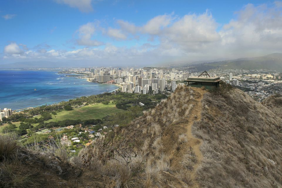 On the hiking trail at Diamond Head State Park