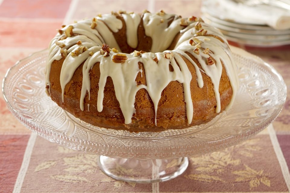 Bundt cake with browned butter icing