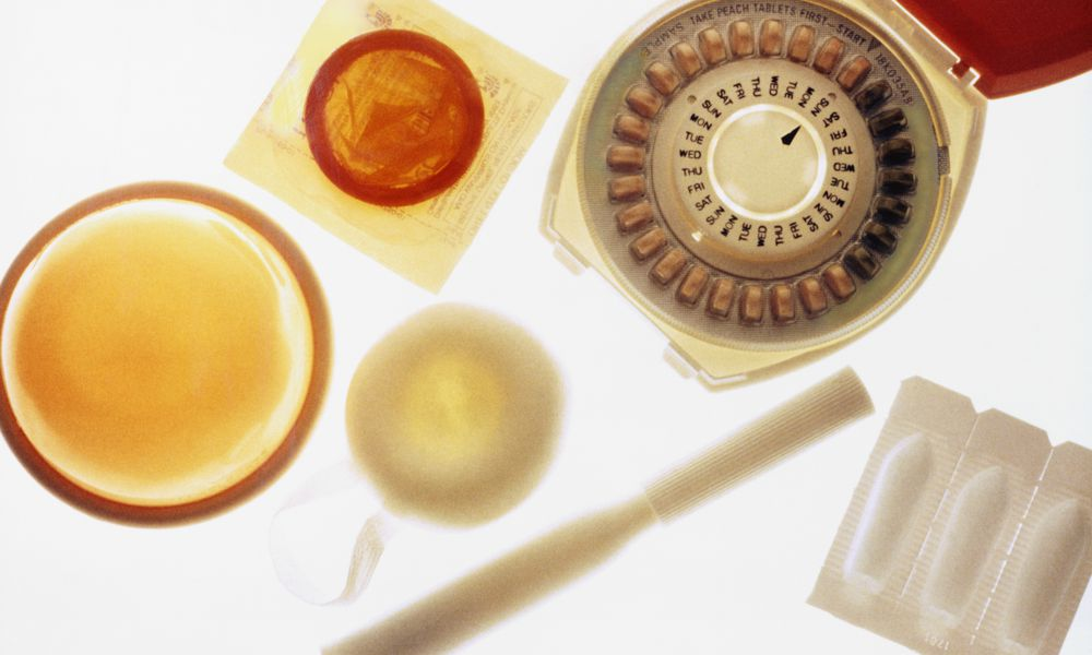Various contraceptives including pills and condoms