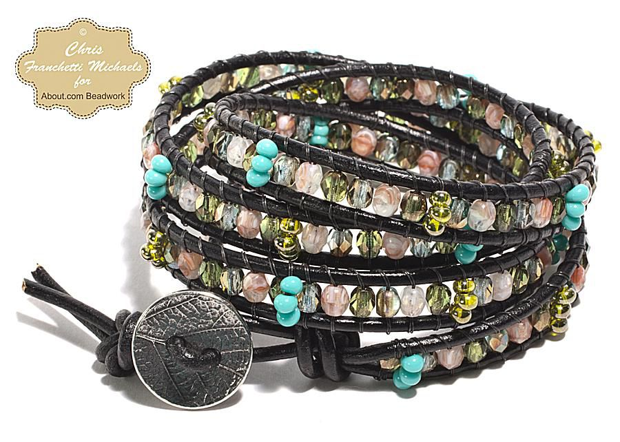Four wrap leather bead bracelet tutorial