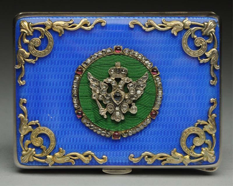 Russian card case with Guilloché enamel