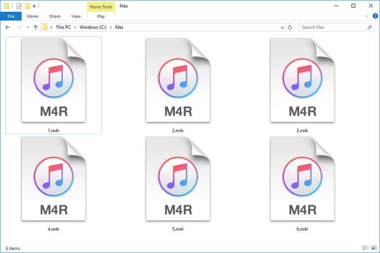Screenshot of several M4R files in Windows 10 that open with iTunes