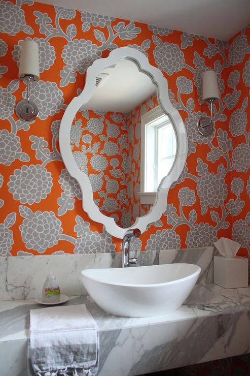 Orange Bathroom With Floral Wallpaper