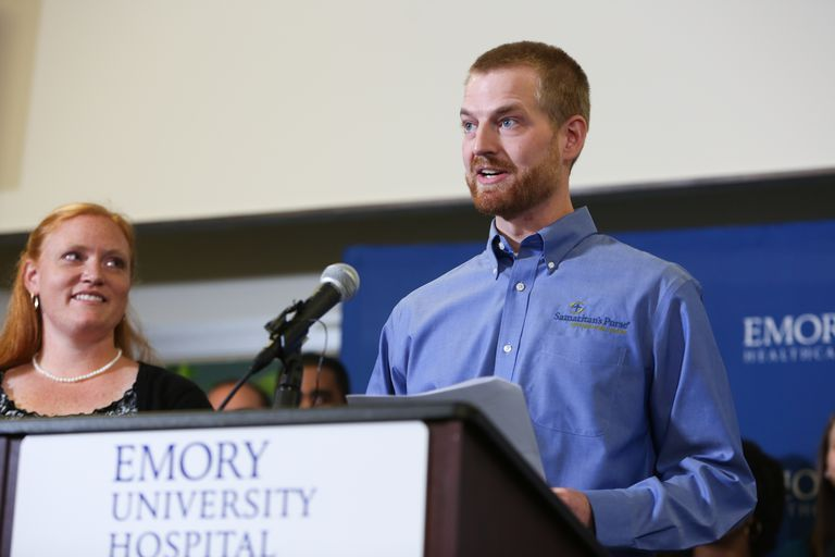 Dr. Kent Brantly during a press conference announcing his release from Emory Hospital on August 21, 2014