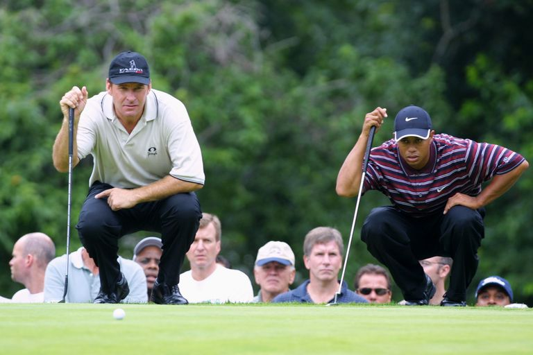 Back-to-back Masters winners Nick Faldo and Tiger Woods, pictured together during the 2001 Buick Classic