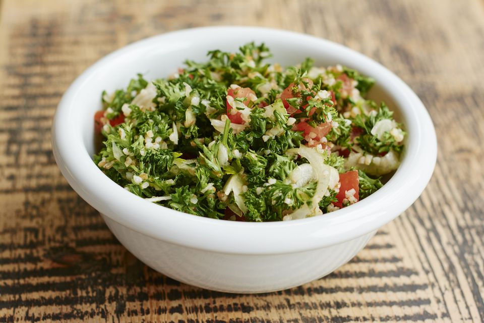 Parsley tabbouleh salad, with parsley, tomatoes, onions, bulgur