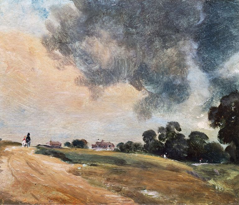 Oil painting sketch on paper by English Romantic Painter John Constable