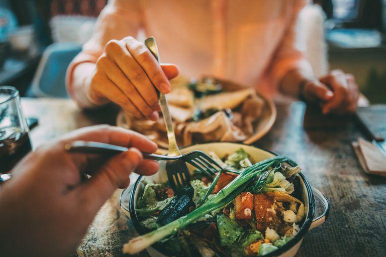 Eating food at restaurant