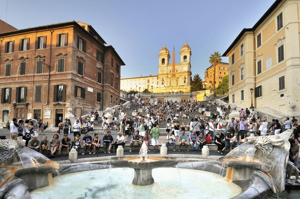 Spanish Steps, Rome, Italy, Europe - with the Fontana della Barcaccia fountain and tourists