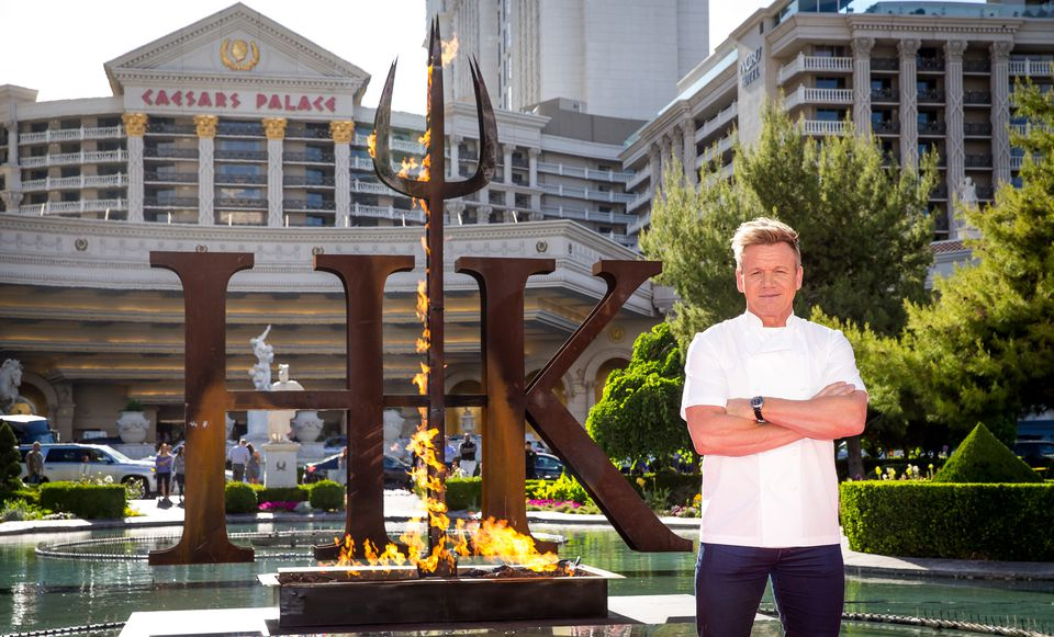 Gordon Ramsey in front of his restaurant at Caesar's Palace, Las Vegas
