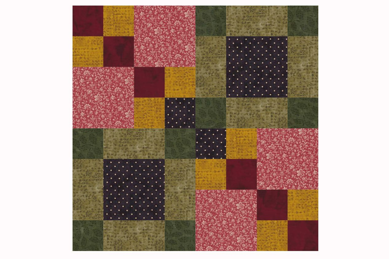 Four Square Patchwork Quilt Block Pattern