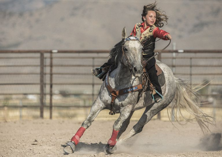 At a rodeo, very young cowgirl on her horse aiming at completing a cloverleaf pattern during the barrel racing event, also called Gymkhana.