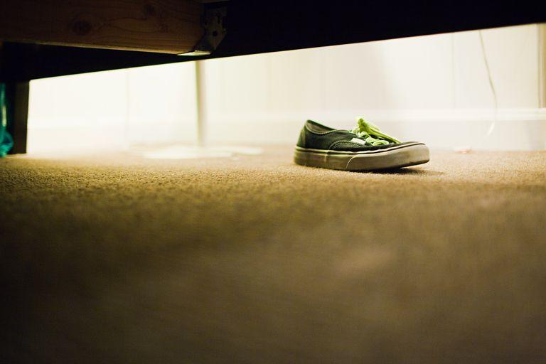 Shoe under bed