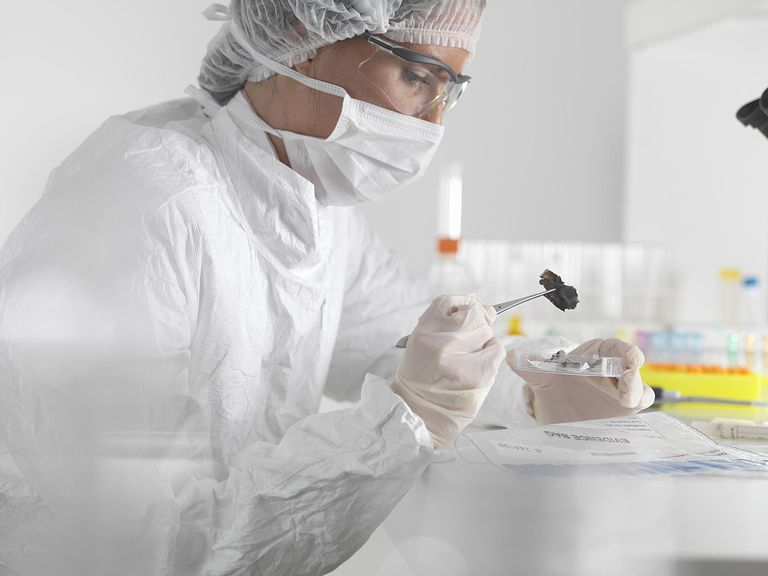 Forensic scientist examines evidence in the lab