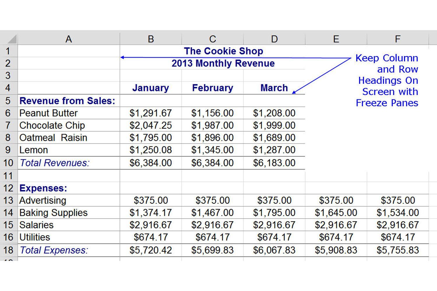 Freeze column and row headings in excel with freeze panes ccuart Images