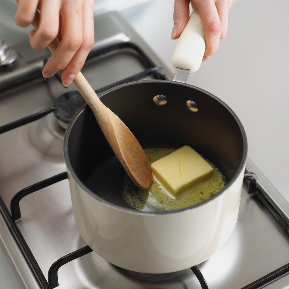 Melting butter to make besciamella