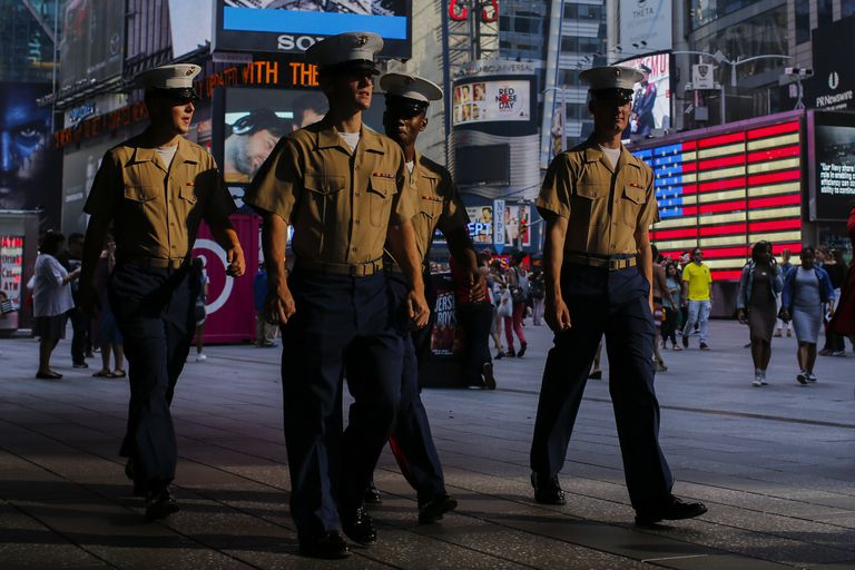 Marines walk around Times Square