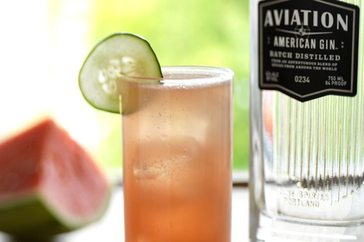 Easy and Fresh Watermelon Cucumber Cooler Aviation Gin Cocktail Recipe