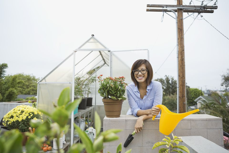 Woman with rooftop garden