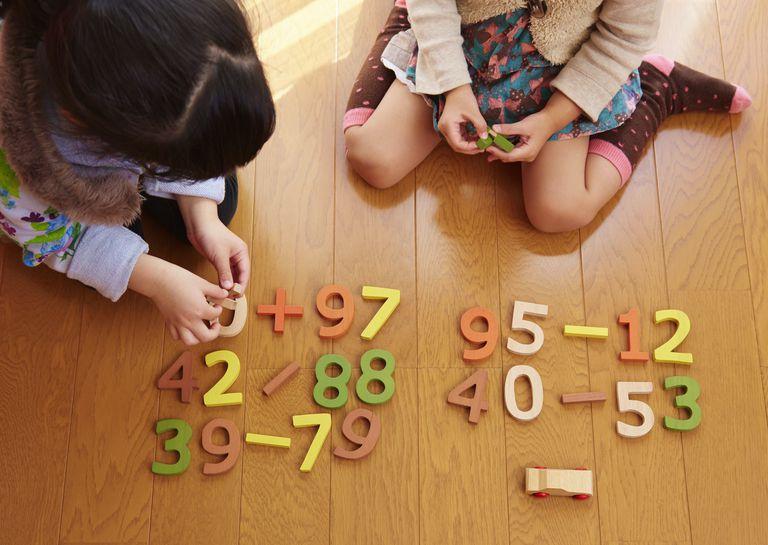 Sisters playing with number blocks, Saitama, Japan