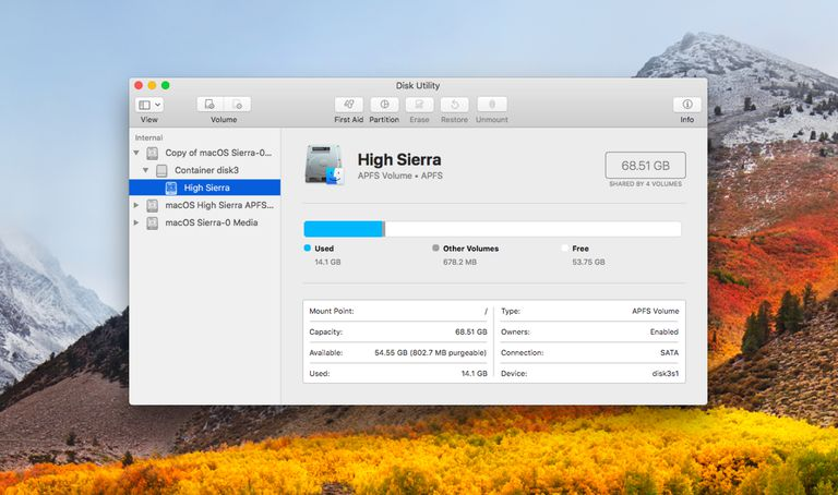 Disk Utility and APFS file system.