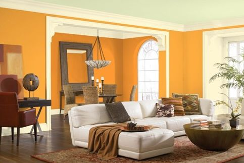 Bring In The Sun With This Orange Living Room Wall Color Paint Colors