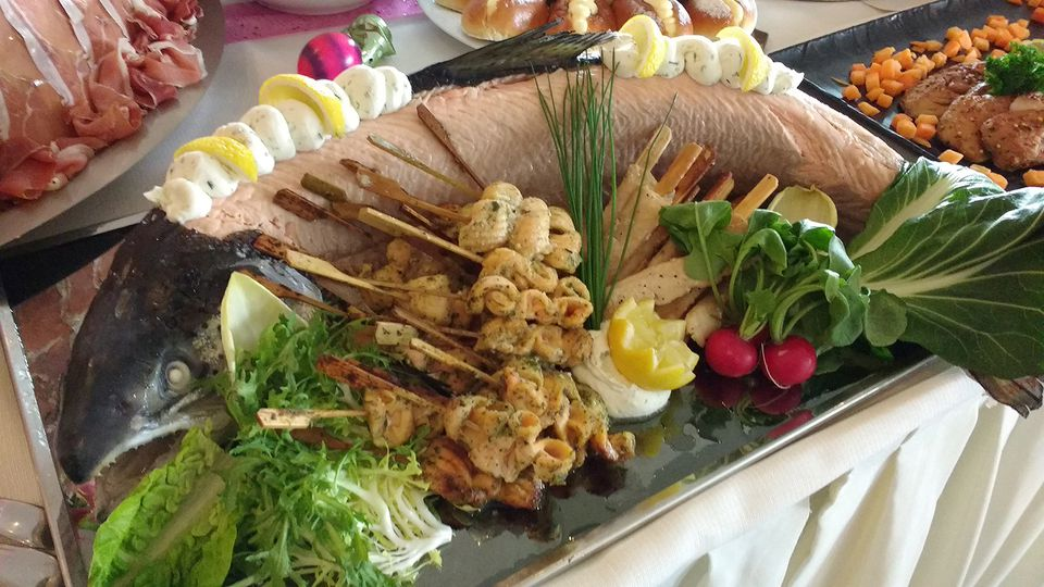 Close-Up Of Fish Served At Easter Brunch