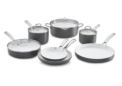 Calphalon 11 Piece Classic Ceramic Nonstick Cookware Set, Grey/White, Small