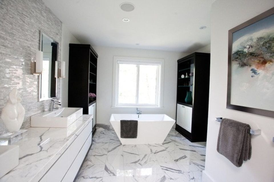 Marble Bathroom With Freestanding Tub