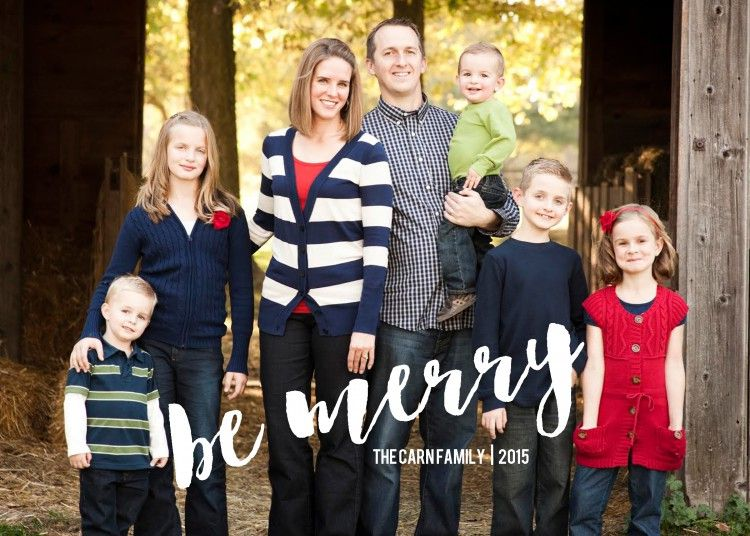 A Large Photo Christmas Card Template That Says Be Merry