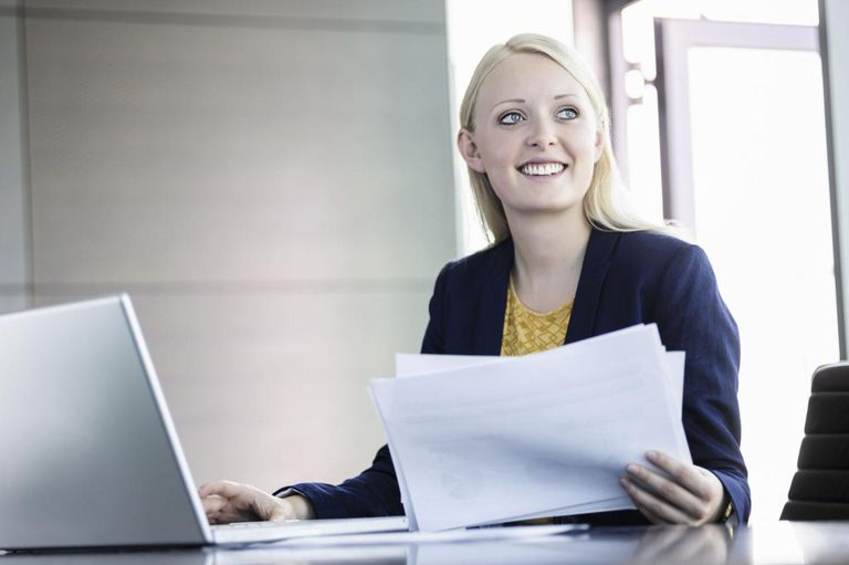 Business woman using notebook