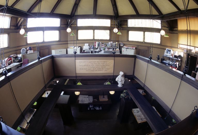 Interior view of the Frank Lloyd Wright Studio in Oak Park, Illinois