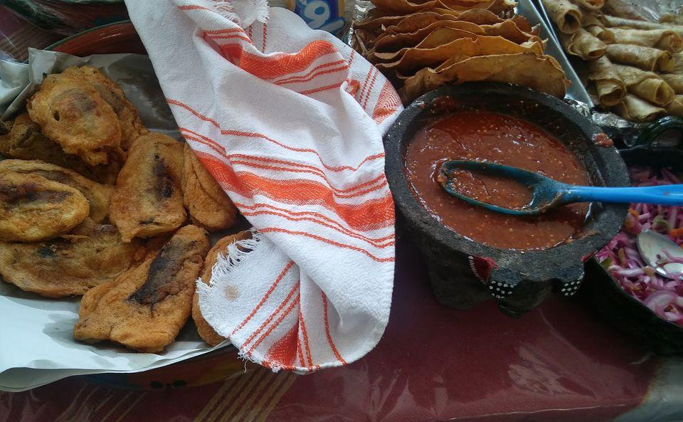Oaxacan food: chiles rellenos, salsa, tostadas