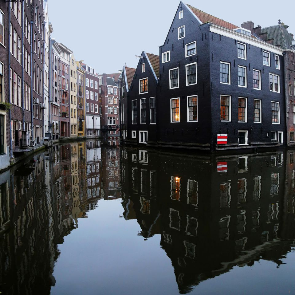 Houses along a canal, Amsterdam, The Netherlands