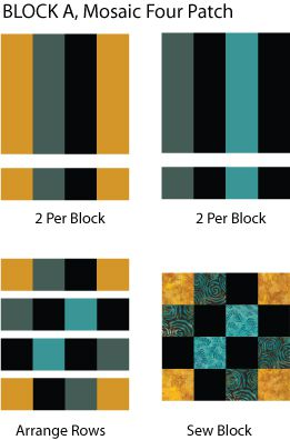 Mosaic Four Patch Quilt Block Pattern