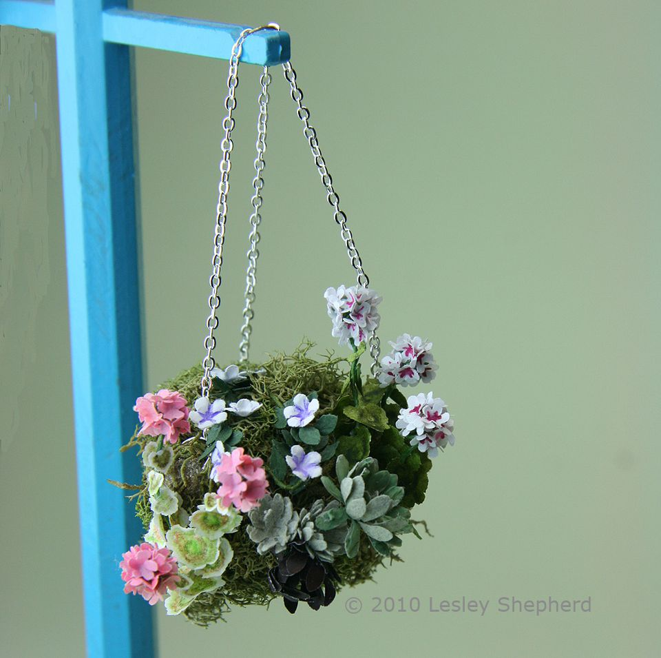 Make stunning miniature plants and flowers from paper a dolls house scale planted moss hanging basket hung from a chain on a lampstand mightylinksfo