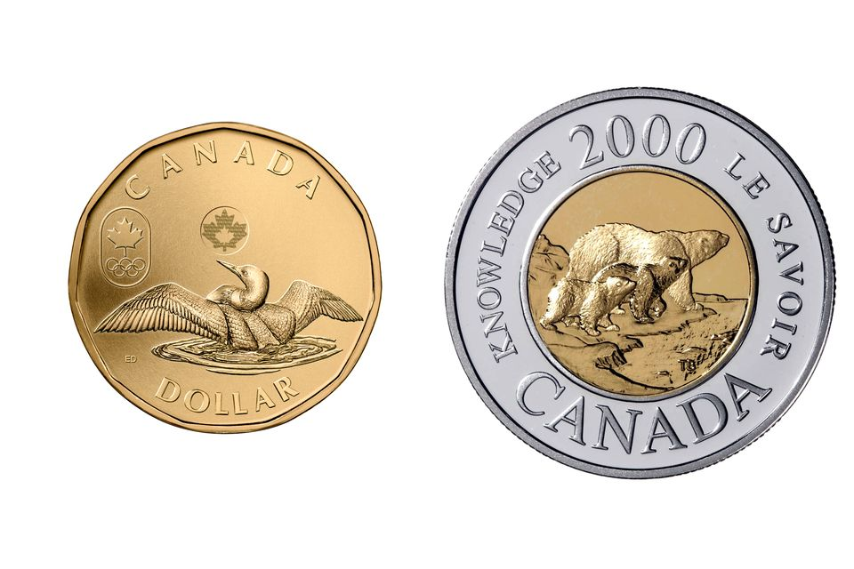 Canadian One Dollar and Two Dollar Coins Also Known As Loonie and Toonies
