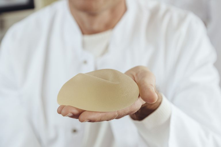 A silicone breast implant.