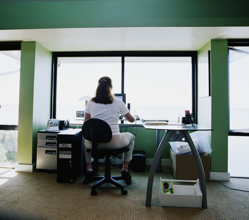 woman working in home office