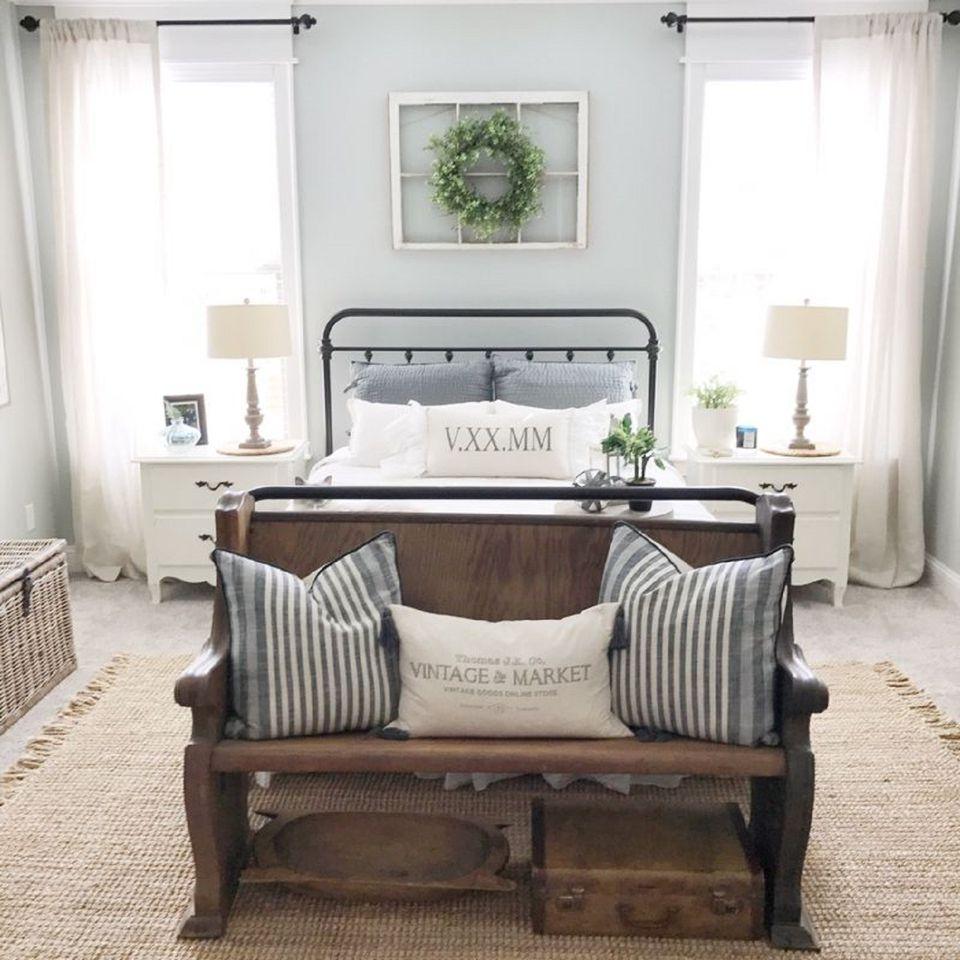Farmhouse bedroom with wreath