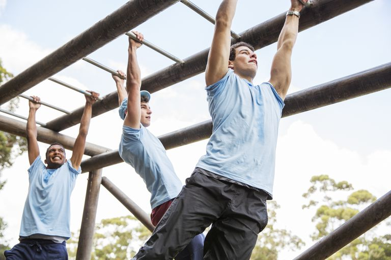 Men on monkey bars