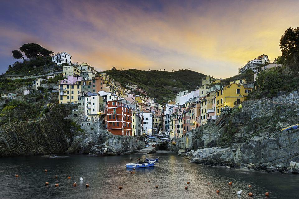 Italy, Cinque Terre, Riomaggiore, Townscape at sunset