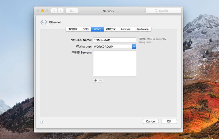 macOS High Sierra Workgroup name settings
