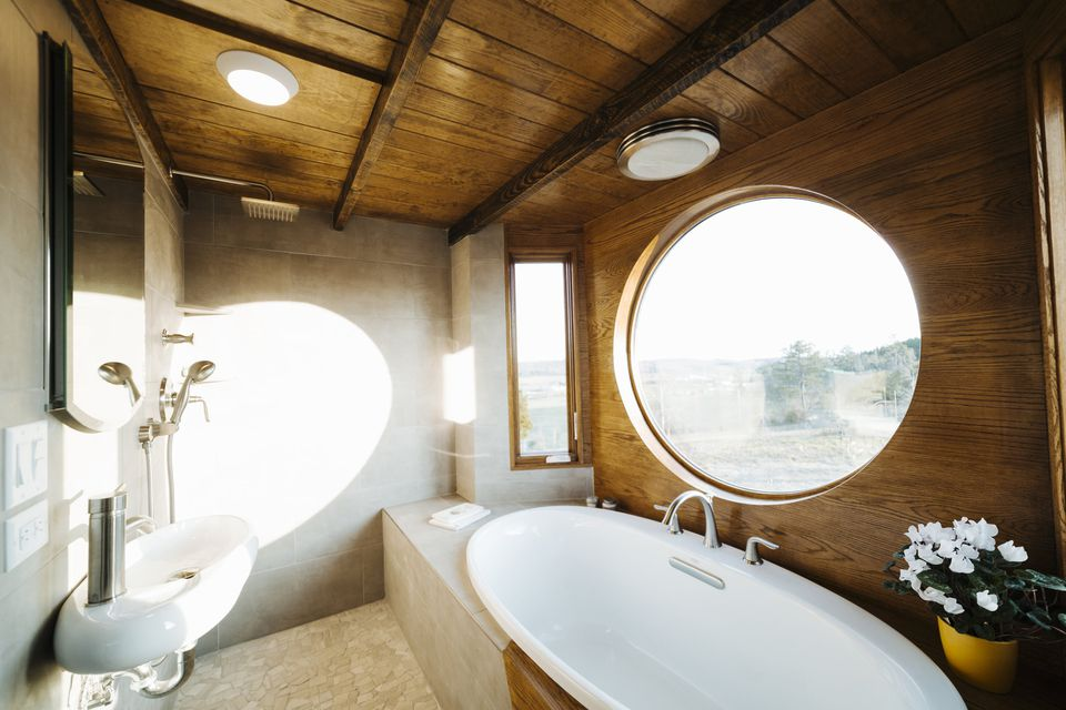 Round Window Tiny House Bathroom