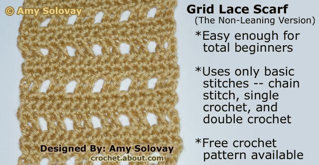 Crochet Grid Lace Scarf Non Leaning Version Pattern
