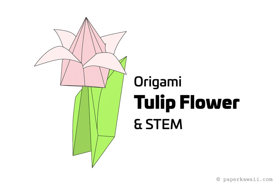 origami tulip and stem 01