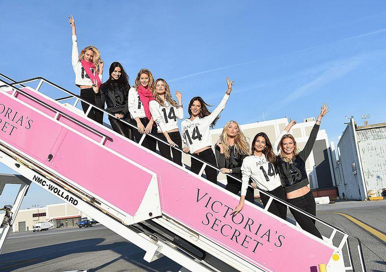Victoria's Secret models departing for London from JFK